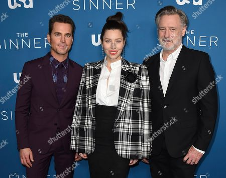"""Stock Photo of Jessica Biel, Matt Bomer, Bill Pullman. Matt Bomer, from left, Jessica Biel and Bill Pullman arrive at the Los Angeles premiere of """"The Sinner"""" Season 3 at The London West Hollywood on"""