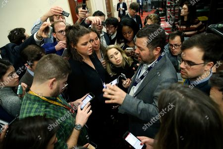 Ari Rabin-Havt, deputy campaign manager for Democratic presidential candidate Sen. Bernie Sanders, I-Vt., speaks to the media about the delay in releasing caucus results late, in Des Moines, Iowa