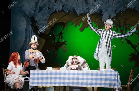 Claudia Boyle as Alice, Peter Tansits as March Hare, Hilary Summers as Dormouse, Sam Furness as Mad Hatter