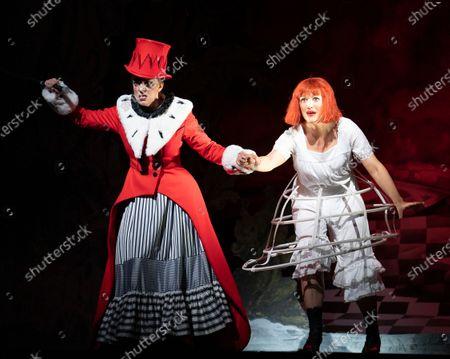 Stock Image of Clare Presland as Red Queen, Claudia Boyle as Alice,
