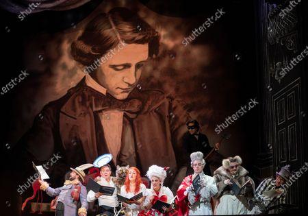 Stock Photo of Centre  Claudia Boyle as Alice, Clare Presland as Queen of Hearts