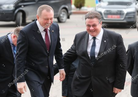 Minister of Foreign Affairs of Lithuania Linas Antanas Linkevicius (R) walks with Belarussian Foreign Minister Vladimir Makei (L) during their meeting in Minsk, Belarus, 04 February 2020. Linas Antanas Linkevicius is on his working visit in Belarus.