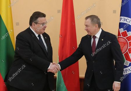 Minister of Foreign Affairs of Lithuania Linas Antanas Linkevicius (L) shakes hands with Belarussian Foreign Minister Vladimir Makei (R) during their meeting in Minsk, Belarus, 04 February 2020. Linas Antanas Linkevicius is on his working visit in Belarus.