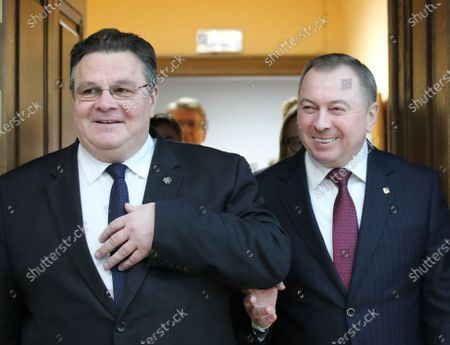 Stock Photo of Minister of Foreign Affairs of Lithuania Linas Antanas Linkevicius (L) walks with Belarussian Foreign Minister Vladimir Makei (R) during their meeting in Minsk, Belarus, 04 February 2020. Linas Antanas Linkevicius is on his working visit in Belarus.