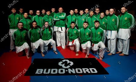 Stock Image of The Sport Ireland & Olympic Federation of Ireland recognised karate team will tomorrow travel to Budapest, Hungary to compete at the World Karate Federation U21 & Junior European Championships. Part of the squad are the Cork McCarthy twins, Sean and Chris. Sean is a Youth Olympic bronze medallist from Buenos Aires and Chris is reigning European Junior gold medallist. Pictured is the Ireland team ahead of the 47th EKF Junior & Cadet and U21 Championships in Budapest with coach John Connolly