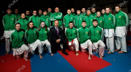 Stock Picture of The Sport Ireland & Olympic Federation of Ireland recognised karate team will tomorrow travel to Budapest, Hungary to compete at the World Karate Federation U21 & Junior European Championships. Part of the squad are the Cork McCarthy twins, Sean and Chris. Sean is a Youth Olympic bronze medallist from Buenos Aires and Chris is reigning European Junior gold medallist. Pictured is the Ireland team ahead of the 47th EKF Junior & Cadet and U21 Championships in Budapest with coach John Connolly and O.N.A.K.A.I. President Chris Kelly