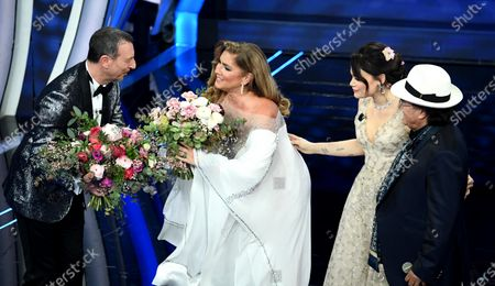Italian Sanremo Festival artistic director Amadeus,  lItalian singer Romina Power, Italian actress Romina Carrisi, daugther of Italian singers Al Bano and Romina and Italian singer Al Bano Carrisi on stage at the Ariston theatre during the 70th Sanremo Italian Song Festival, Sanremo, Italy, 04 February 2020. The festival runs from 04 to 08 February.