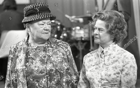 Ernest and Emily's wedding. Violet Carson (as Ena Sharples and Daphne Oxenford (as Esther Hayes)