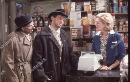Talfryn Thomas (as Dirty Dick), Paddy Joyce (as Tommy Deakin) and Irene Sutcliffe (as Maggie Clegg)