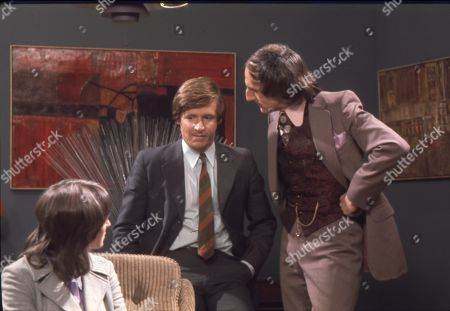 Diana Davies (as Norma Ford), William Roache (as Ken Barlow) and Jeremy Young (as Benny Lewis)