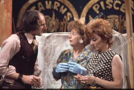 Jeremy Young (as Benny Lewis), Jean Alexander (as Hilda Ogden) and Barbara Knox (as Rita Littlewood)
