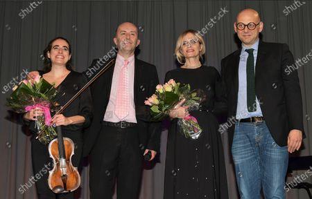 Stock Image of Isabella Ferrari with Raffaele Cucchi Mayor Parabiago and Giorgio Almasio organizer artistic director, Georgia Privitera violinist