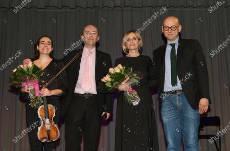 Stock Photo of Isabella Ferrari with Raffaele Cucchi Mayor Parabiago and Giorgio Almasio organizer artistic director, Georgia Privitera violinist