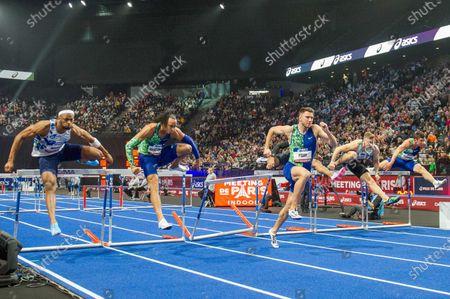 Stock Photo of Aurel Manga, Pascal Martinot-Lagarde, Andrew Pozzi, Aaron Mallett, Elmo Lakka, Damian Czykier perform in the 60 metres hurdles final