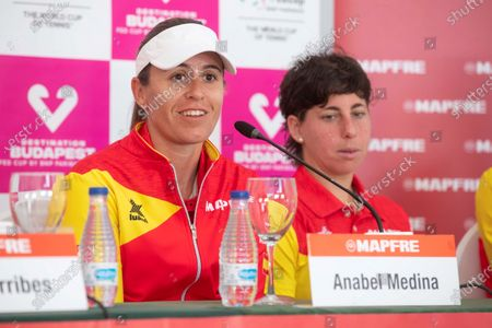 Anabel Medina (L), team captain of Spain, addresses a press conference in Cartagena, Spain, 04 February 2020. Spain will face Japan in the Fed Cup qualifiers from 07 to 08 February 2020.