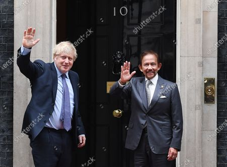 British Prime Minister Boris Johnson (L) welcomes the Sultan of Brunei Hassanal Bolkiah (R) to 10 Downing Street in London, Britain, 04 February 2020.