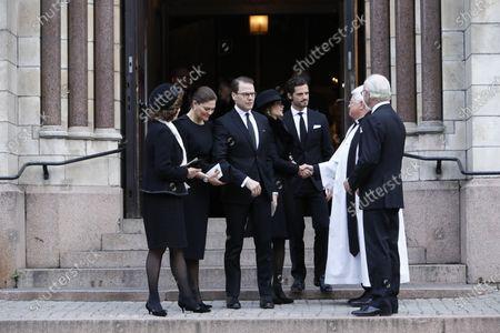 Queen Sivia, Crown Princess Victoria, Prince Daniel, Princess Sofia of Sweden, Prince Carl Philip, Vicar Hans Rhodin and King Carl Gustaf