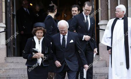Queen Silvia, King Carl Gustaf, Crown Princess Victoria, Prince Daniel, Princess Sofia of Sweden, Prince Carl Philip and Vicar Hans Rhodin