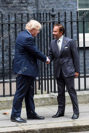 Sultan of Brunei is greeted by Boris Johnson, ahead of talks in Number 10 Downing Street.
