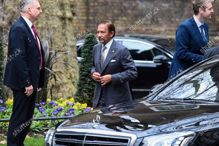 Sultan of Brunei arrives for talks in Number 10 Downing Street.