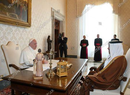 Pope Francis meets the Crown Prince of Bahrain Salman bin Hamad bin Isa Al Khalifa.