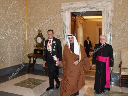 The Salman, Crown Prince of Bahrain Salman bin Hamad bin Isa Al Khalifa with P. Leonardo Sapienza, of the Papal Household.