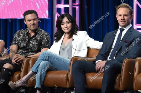 """Brian Austin Green, Shannen Doherty, Ian Ziering. Brian Austin Green, from left, Shannen Doherty and Ian Ziering participate in Fox's """"BH90210"""" panel at the Television Critics Association Summer Press Tour in Beverly Hills, Calif. Doherty is battling a recurrence of breast cancer that has progressed to stage four, telling fans """"it's a bitter pill to swallow."""" Doherty, 48, has been working on a reboot of """"BH90210"""" and kept the diagnosis mostly secret. """"People with stage four can work too. Our life doesn't end the minute we get that diagnosis. We still have some living to do,"""" she said"""