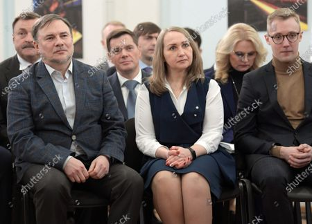 Deputy Chairman of the Board of Directors of PhosAgro Andrey Guryev (left), Chairman of the Board of Severstal Alexey Mordashov (third from left) and Deputy Prime Minister of Russia Tatyana Golikova (second from right) attend the meeting of Russian President Vladimir Putin with the members of the public on training of specialists for economics and social sector at the Cherepovets College of Chemical Technology