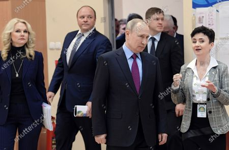 Deputy Prime Minister of Russia Tatyana Golikova, CEO of PhosAgro Andrey Guryev, Russian President Vladimir Putin and Principal of Cherepovets College of Chemical Technology Elena Bykova visit Cherepovets College of Chemical Technology