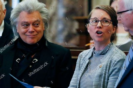 Marty Stuart, Jenifer Branning. Country and rockabilly music star Marty Stuart, left, listens to Sen. Jenifer Branning, R-Philadelphia, speak about the resolution honoring him, in the Senate chamber at the Capitol in Jackson, Miss., . Stuart, a Philadelphia, Miss., native, was recognized by lawmakers for his achievements as a Grammy award winning musician, singer and songwriter and his commitment to Mississippi