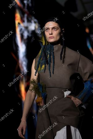 Stock Photo of A model presents some of the creations by Spanish fashion brand Txell Miras during the second day of the 25th 080 Barcelona Fashion in Barcelona, Catalonia, Spain, 04 February 2020. The 080 Barcelona Fashion runs from 03 to 06 February 2020.