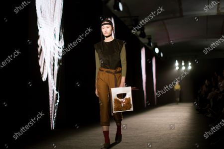 Stock Image of A model presents some of the creations by Spanish fashion brand Txell Miras during the second day of the 25th 080 Barcelona Fashion in Barcelona, Catalonia, Spain, 04 February 2020. The 080 Barcelona Fashion runs from 03 to 06 February 2020.
