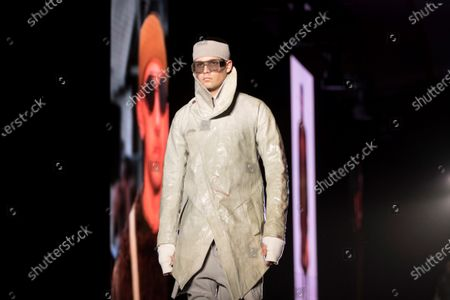 Stock Photo of A model presents some of the creations by German-Iranian fashion designer Boris Bidjan Saberi during the second day of the 25th 080 Barcelona Fashion in Barcelona, Catalonia, Spain, 04 February 2020. The 080 Barcelona Fashion runs from 03 to 06 February 2020.