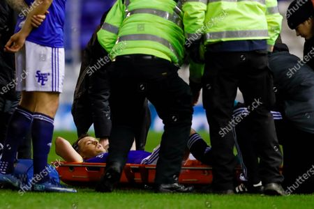 Birmingham City midfielder Josh McEachran (16) gets a bad injury and has to be carried off on a stretcher during the The FA Cup match between Birmingham City and Coventry City at the Trillion Trophy Stadium, Birmingham