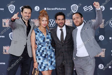 Stock Photo of Simon Verhoeven, German-Russian actress Palina Rojinski, Austrian actor Elyas M'Barek and German actor Frederick Lau pose at the red carpet during the movie premiere 'Night Life' in Berlin, Germany, 04 February 2020. The movie will be open to the public on 13 February.