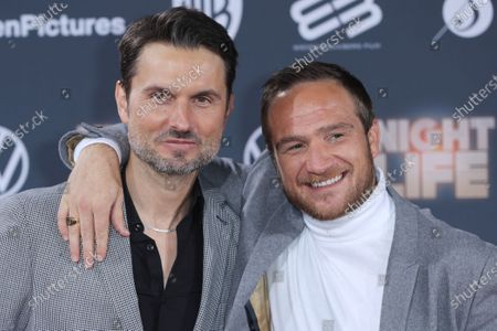 Simon Verhoeven (L) and German actor Frederick Lau pose at the red carpet during the movie premiere 'Night Life' in Berlin, Germany, 04 February 2020. The movie will be open to the public on 13 February.