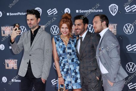 Stock Image of Simon Verhoeven, German-Russian actress Palina Rojinski, Austrian actor Elyas M'Barek and German actor Frederick Lau pose at the red carpet during the movie premiere 'Night Life' in Berlin, Germany, 04 February 2020. The movie will be open to the public on 13 February.