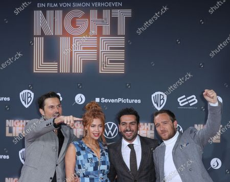 Simon Verhoeven, German-Russian actress Palina Rojinski, Austrian actor Elyas M'Barek and German actor Frederick Lau pose at the red carpet during the movie premiere 'Night Life' in Berlin, Germany, 04 February 2020. The movie will be open to the public on 13 February.