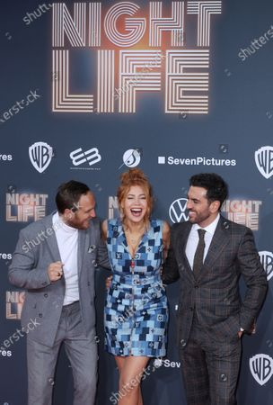 Frederick Lau, German-Russian actress Palina Rojinski and Austrian actor Elyas M'Barek pose at the red carpet during the movie premiere 'Night Life' in Berlin, Germany, 04 February 2020. The movie will be open to the public on 13 February.