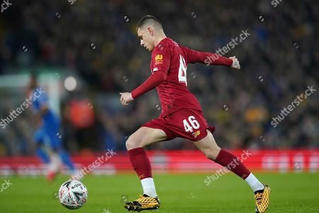 Liverpool's Adam Lewis runs with the ball during the English FA Cup Fourth Round replay soccer match between Liverpool and Shrewsbury Town at Anfield Stadium, Liverpool, England