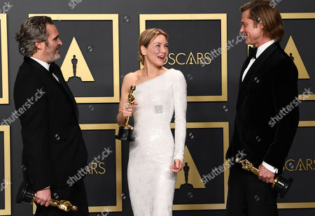 Joaquin Phoenix - Leading Actor - Joker, Renee Zellweger - Leading Actress - Judy and Brad Pitt - Supporting Actor - Once Upon A Time... In Hollywood