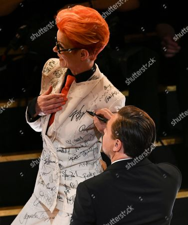 Sandy Powell and Leonardo DiCaprio