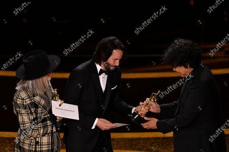 Diane Keaton, Keanu Reeves and Bong Joon Ho - Best Original Screenplay - Parasite
