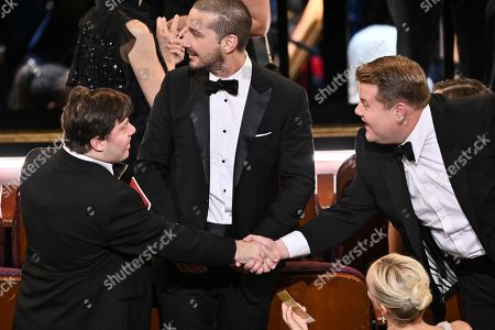 Zack Gottsagen, Shia LaBeouf and James Corden