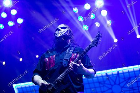 Mick Thomson performs during the concert of the American heavy metal band 'Slipknot' in Papp Laszlo Budapest Sports Arena in Budapest, Hungray, 04 February 2020.