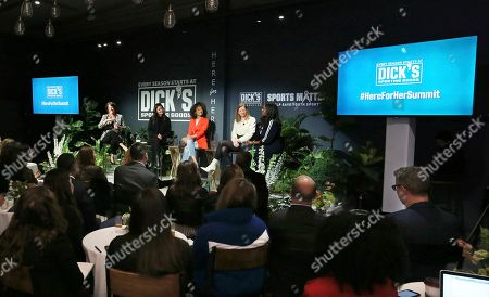 Pictured from left to right, Christine Brennan, moderates DICK'S Sporting Goods panel discussion at 'Here for Her' Summit alongside, Katie Holmes, Elaine Welteroth, Cathy Engelbert and Benita Fitzgerald-Mosley on in New York