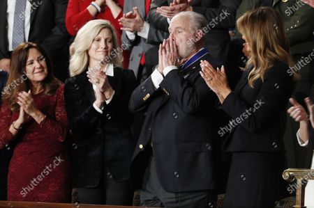 Rush Limbaugh (2R) reacts along with his wife Kathryn (2L) US Second Lady Karen Pence and US First Lady Melania Trump (R) as US President Donald J. Trump announces the awarding of the Presidential Medal of Freedom as delivers his State of the Union address during a joint session of congress in the House chamber of the US Capitol in Washington, DC, USA 04 February 2020. President Trump delivers his address as his impeachment trial is coming to an end with a final vote on the 2 articles of impeachment scheduled for 05 February.
