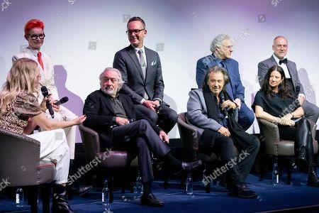 Edith Bowman, Sandy Powel, Robert De Niro, Christopher Peterson, Al Pacino, Pablo Helman, Emma Tillinger Koskoff and Bob Shaw