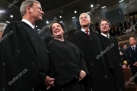 Chief Justice of the United States John Roberts (L), Associate Justice Elena Kagan (2-L), Associate Justice Neil Gorsuch (3-L) and Associate Justice Brett Kavanaugh (4-L) talk before the start of US President Donald Trump's State of the Union address to a joint session of the US Congress in the House chamber of the US Capitol in Washington, DC, USA, 04 February 2020.