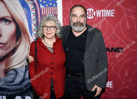 """Stock Photo of Kathryn Grody, Mandy Patinkin. Actor Mandy Patinkin, right, and wife Kathryn Grody attend Showtime's """"Homeland"""" eighth and final season premiere at the Museum of Modern Art, in New York"""